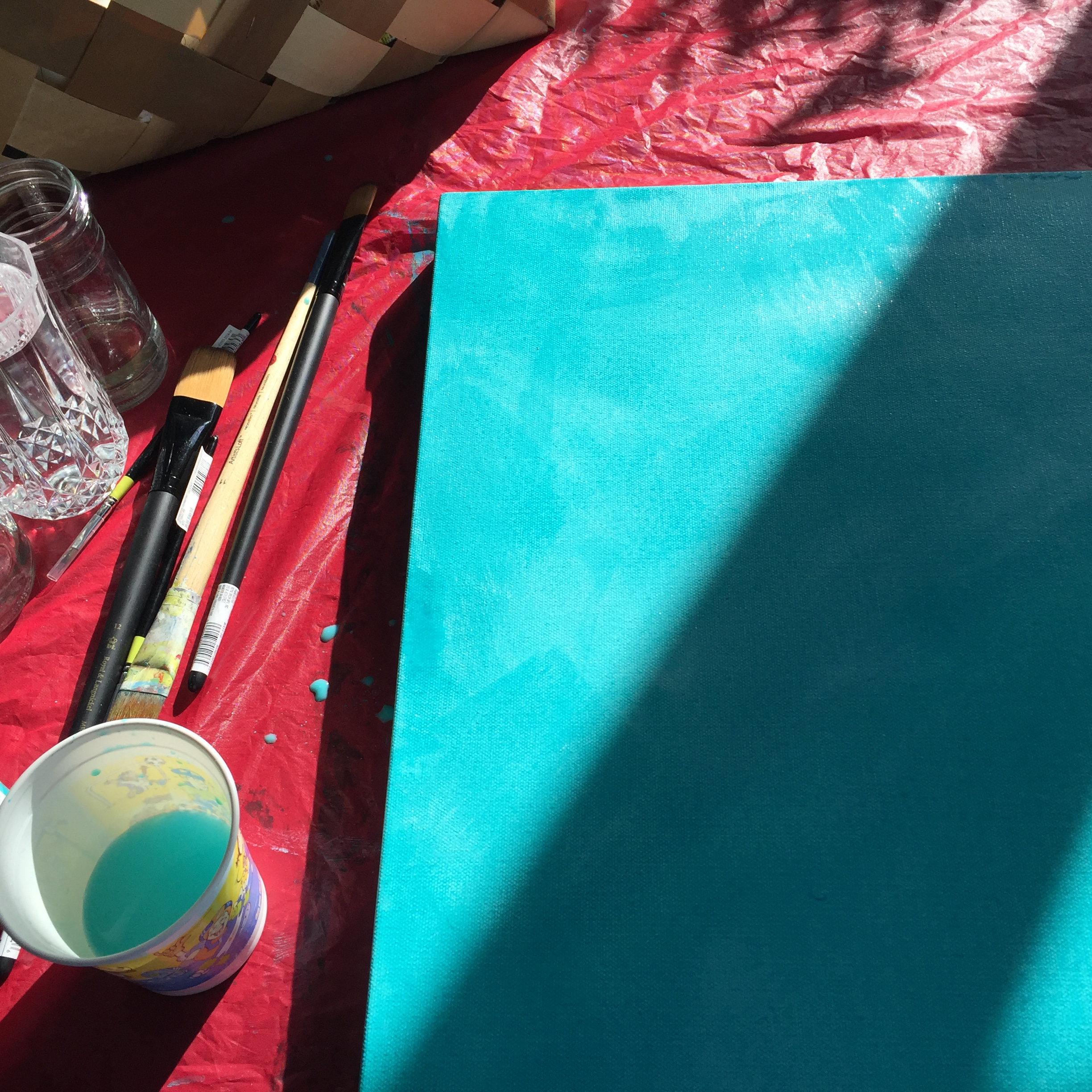 Prepped canvas: Cobalt Turquoise