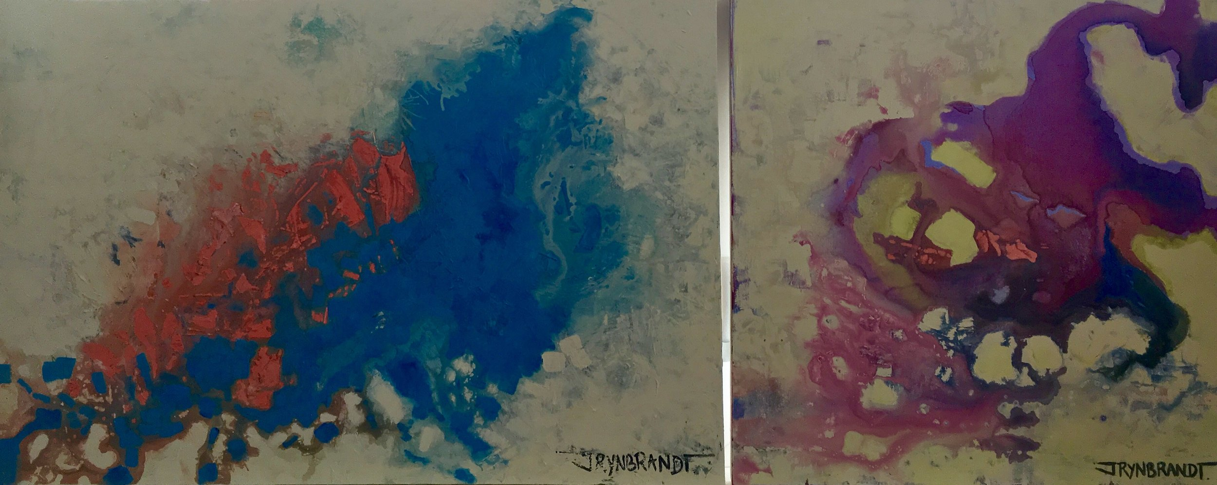 Notice the shades of blue and the sockeye hue on both pieces (although less predominant on the piece to the right).