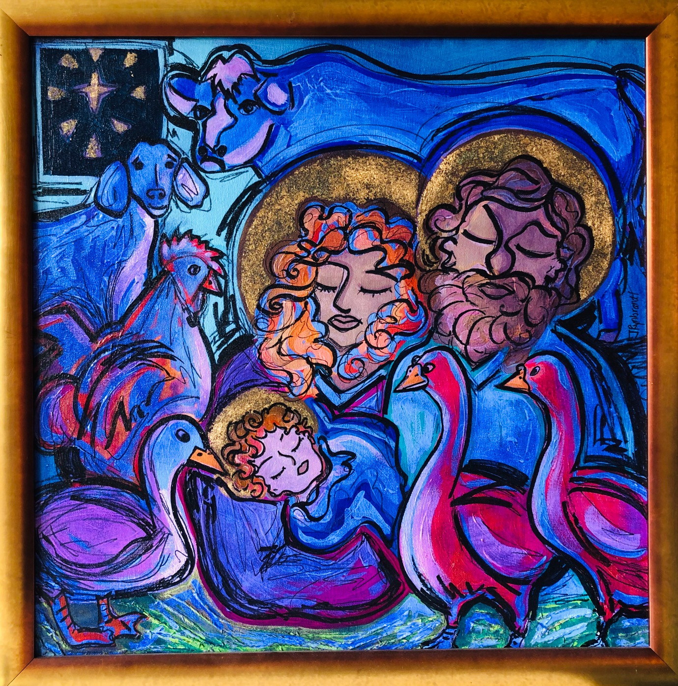 """Nativity"" Acrylic and Gold Leaf on Canvas, 2004"