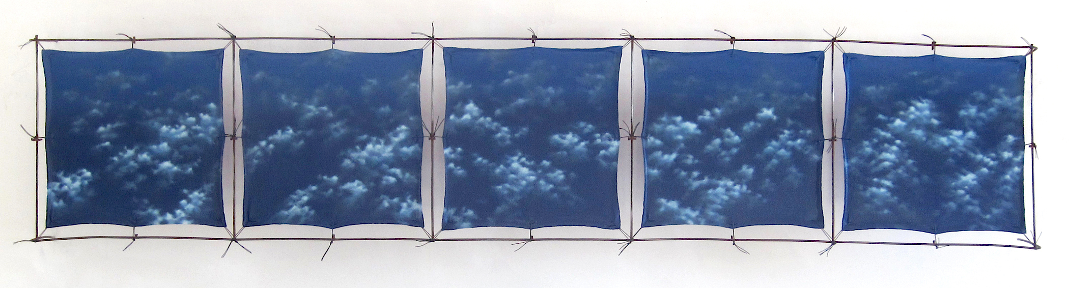 "REMAIN          13"" X 60"" X 6""  Oil,acrylic, cotton canvas, concrete remeshsteel, cord  Reverse of panels – purple"