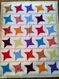 Batik Stars, made by RM 2014, quilted by Carrie A.