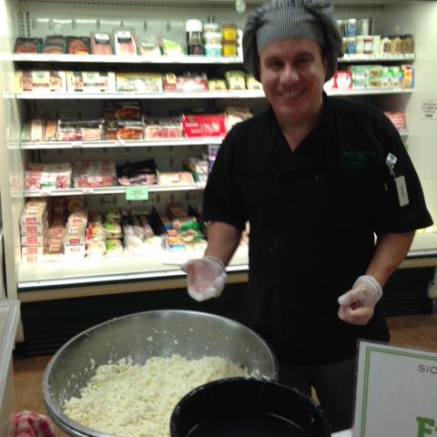 The best! Junior, making fresh mozzarella