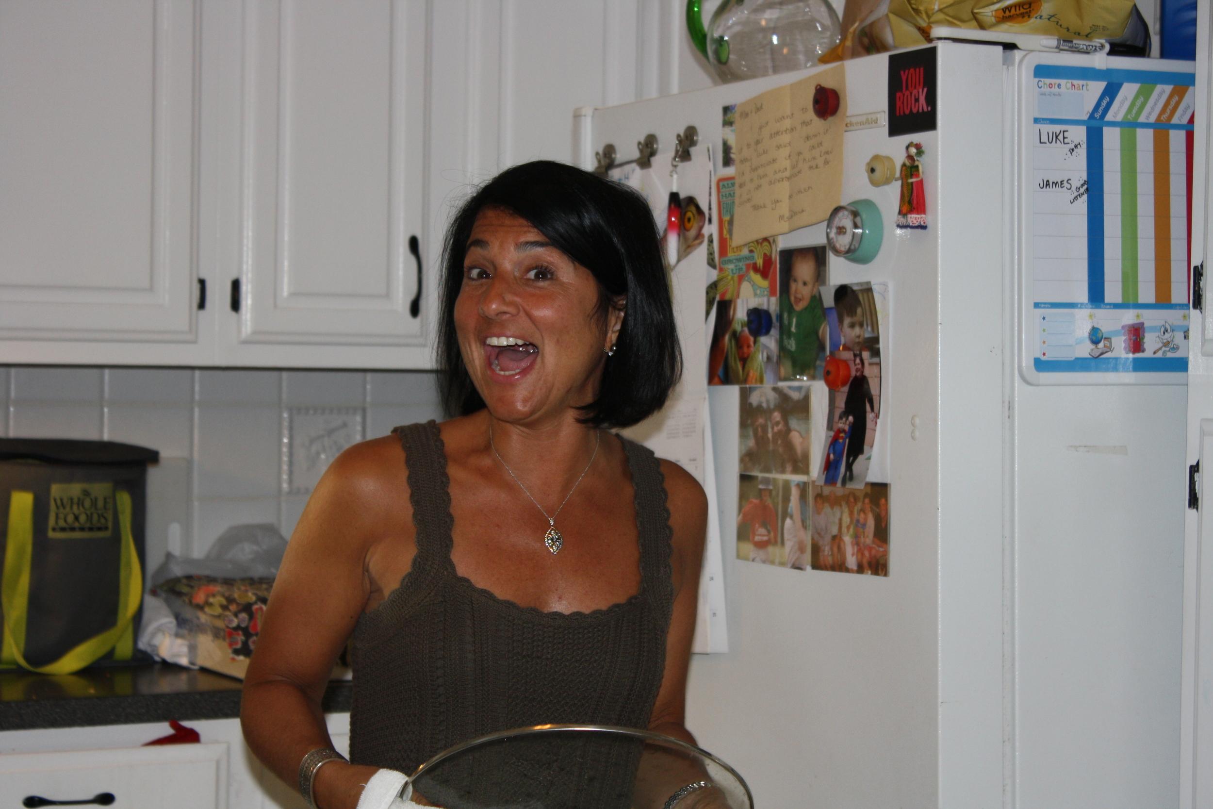Pam in Kelly's kitchen