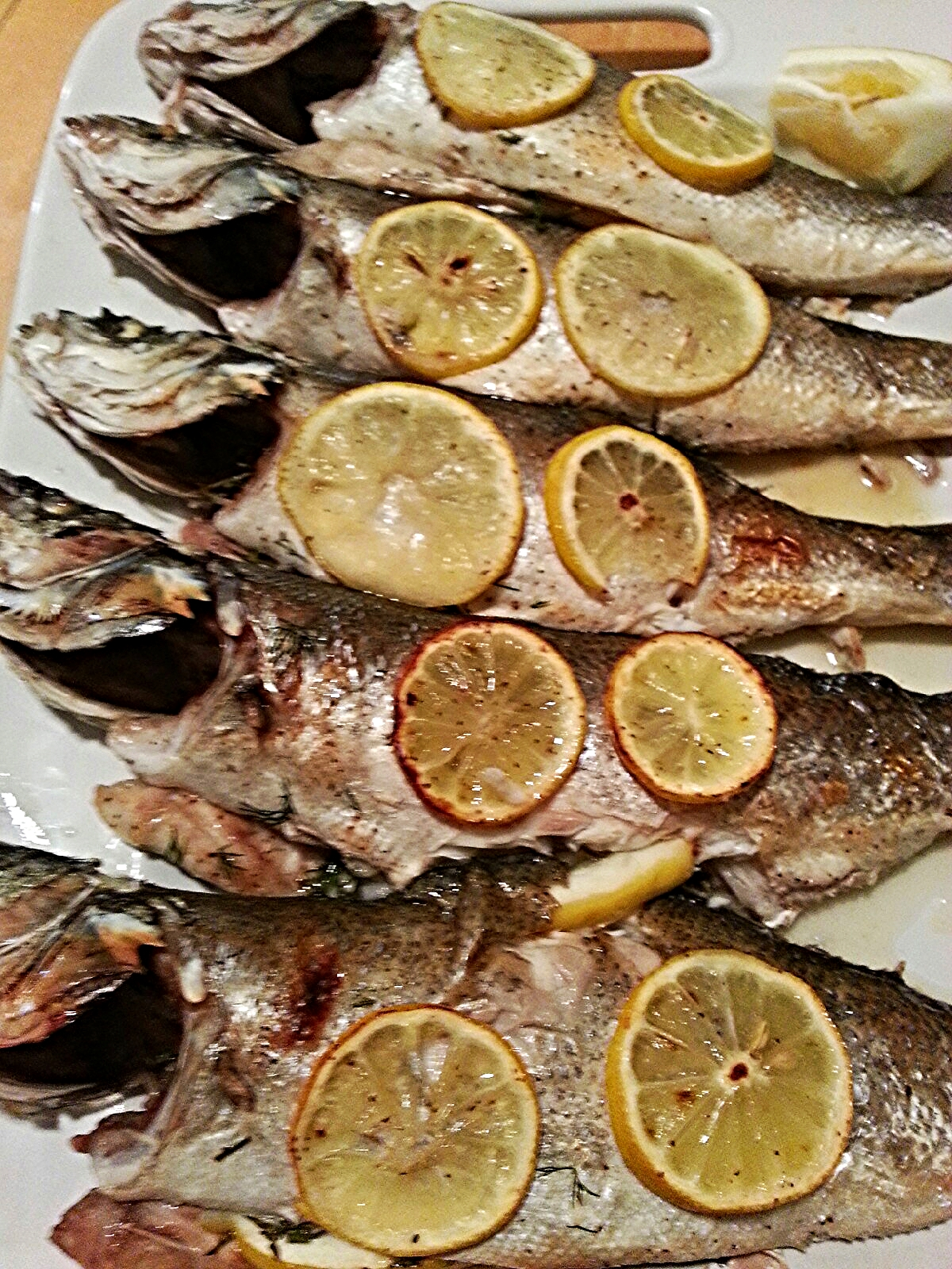 Roasted Branzino with herbs and lemon