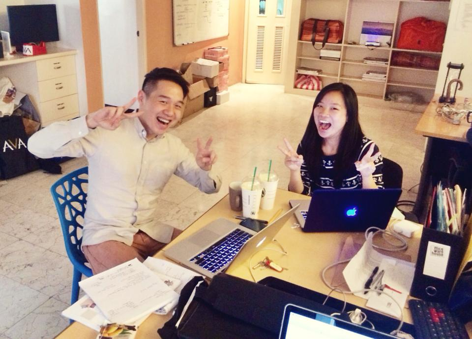 Action Stack Intern Korina Gaw poses with her boss, Walter Wong.