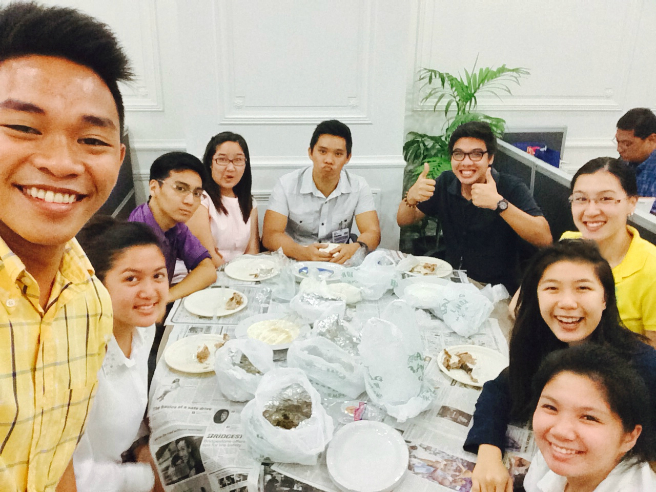 Intern Chiawen Chiang at lunch with co-workers from the Office of Senator Bam Aquino!