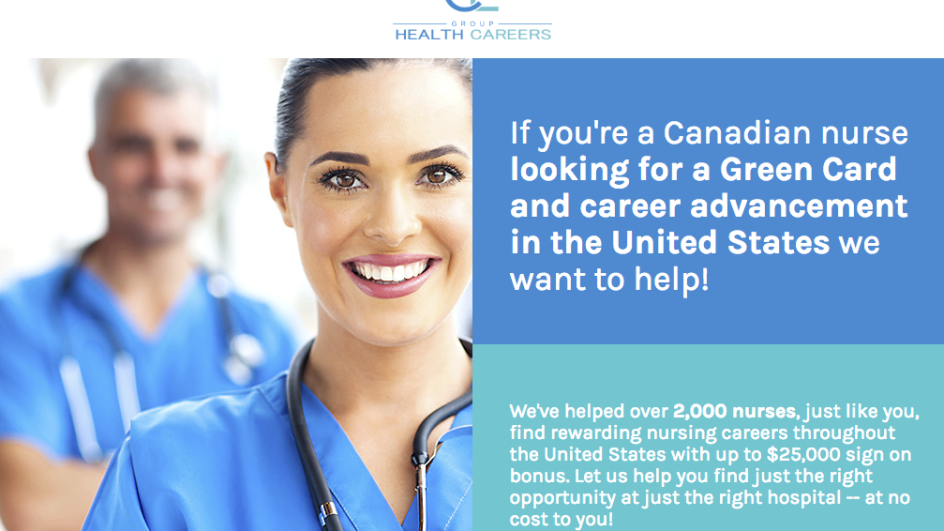 Screenshot of the homepage for CE Health Centers, a service dedicated to finding healthcare jobs for Canadian nurses in the U.S.
