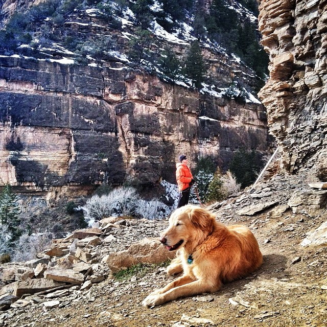 Rilkey enjoying some much needed sunlight at main elk. Here's to climbing in February!