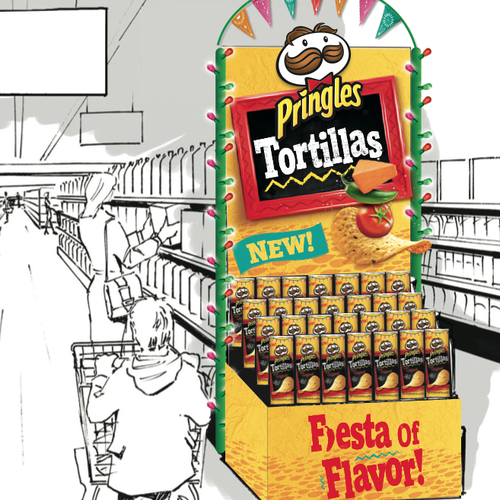 Pringles End Cap & Brand Guidelines  @LPK Taking existing assets from Pringles to create an end cap for instore