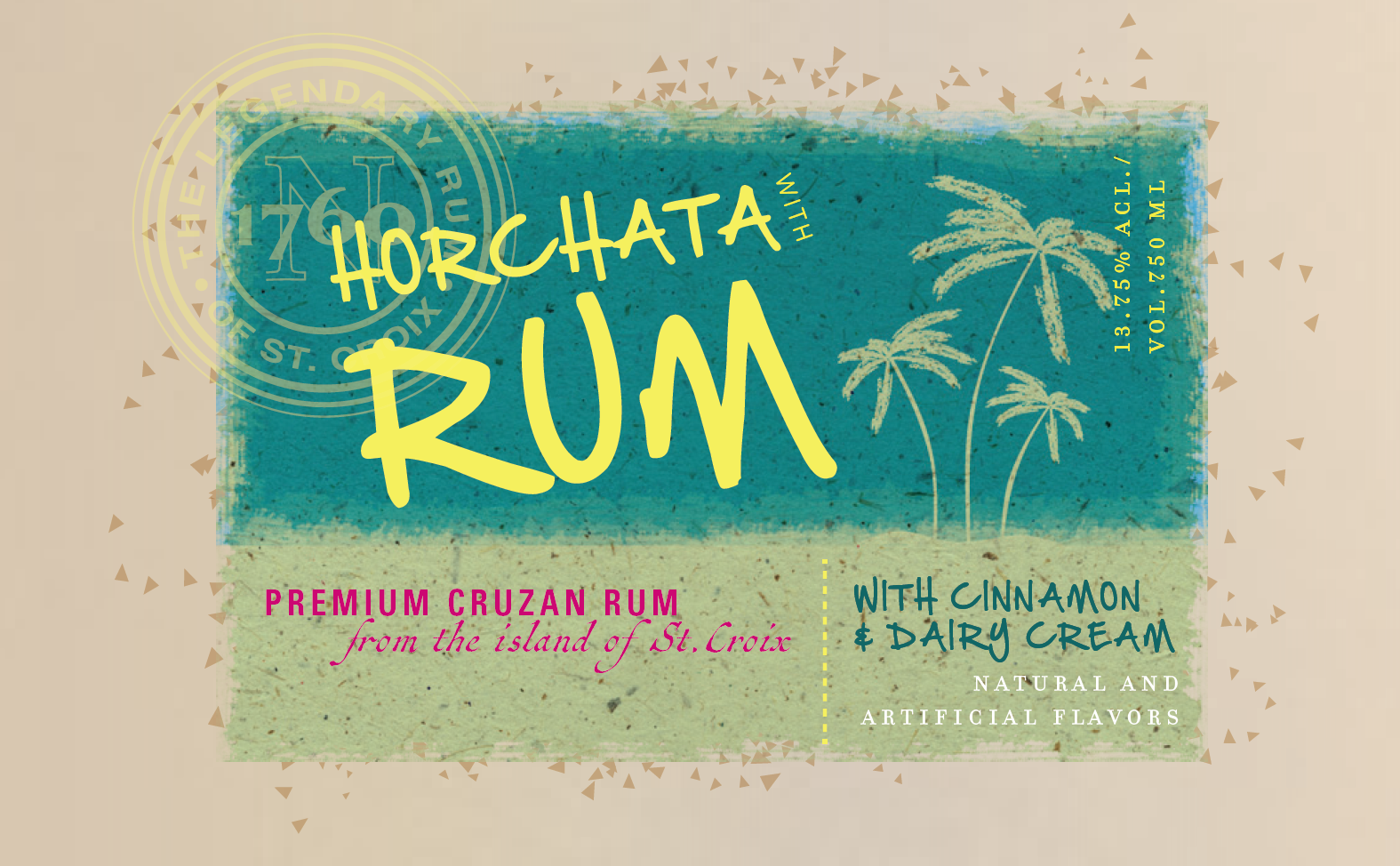Horchata Rum Tropical Flavor Band  @LPK   Made from scratch, label representing horchata rum competing with rumchata - concept.