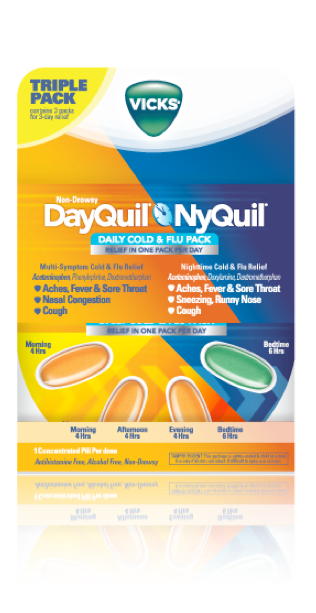 Vicks DayQuil/NyQuil Dual Pack Design  @Landor. Found a way to seperate Day and Night without doing it exactly 50/50, created back panel to this as well.