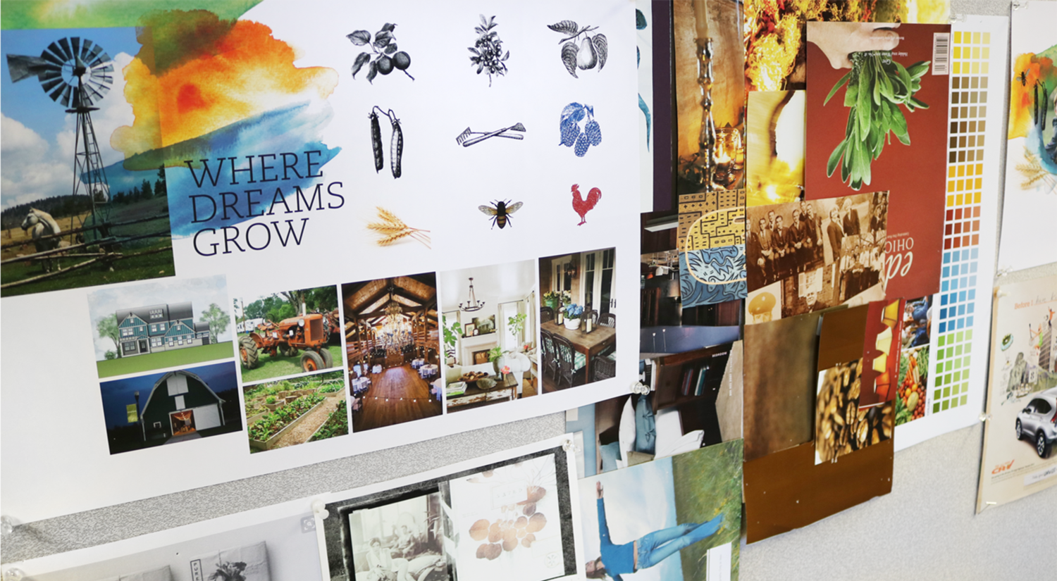 Moodboards with vintage illustrations & watercolor inspired by painting classes in community