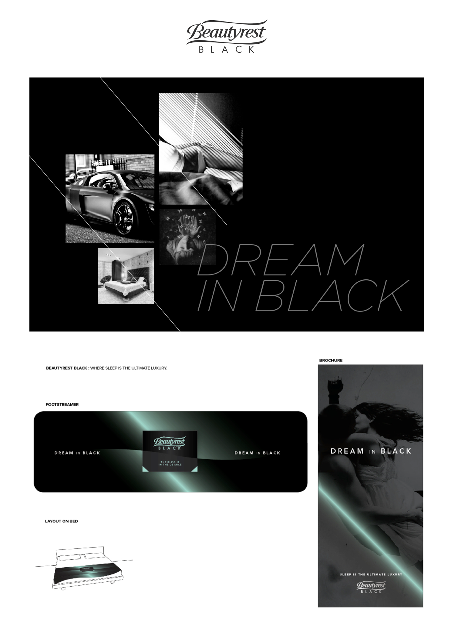 Created 3 different directions for Beauty Rest Black, this was the chosen one I created from an advertising story also applied to final graphics and commercial today.