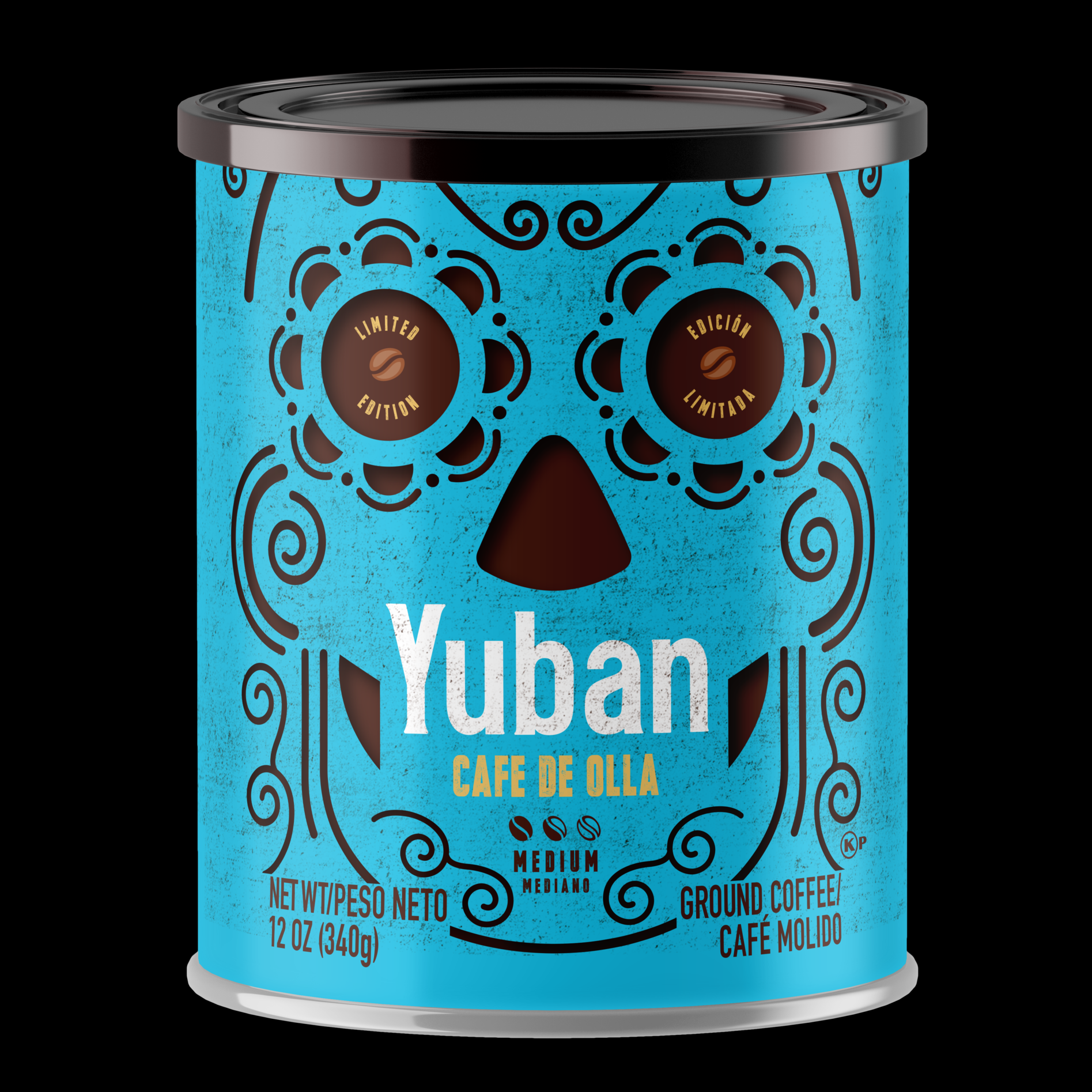 Yuban Coffee Tins, Dia de los muertos theme,  sketched first then made digital @soulsight
