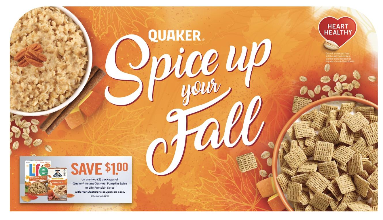 Quaker POP Header card for fall skus,  photo comps, backgrounds & design @Hauggard