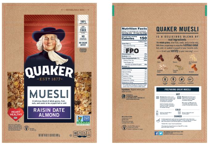Quaker Muesli  Front and back panels communication @Hauggard for @Pepsico
