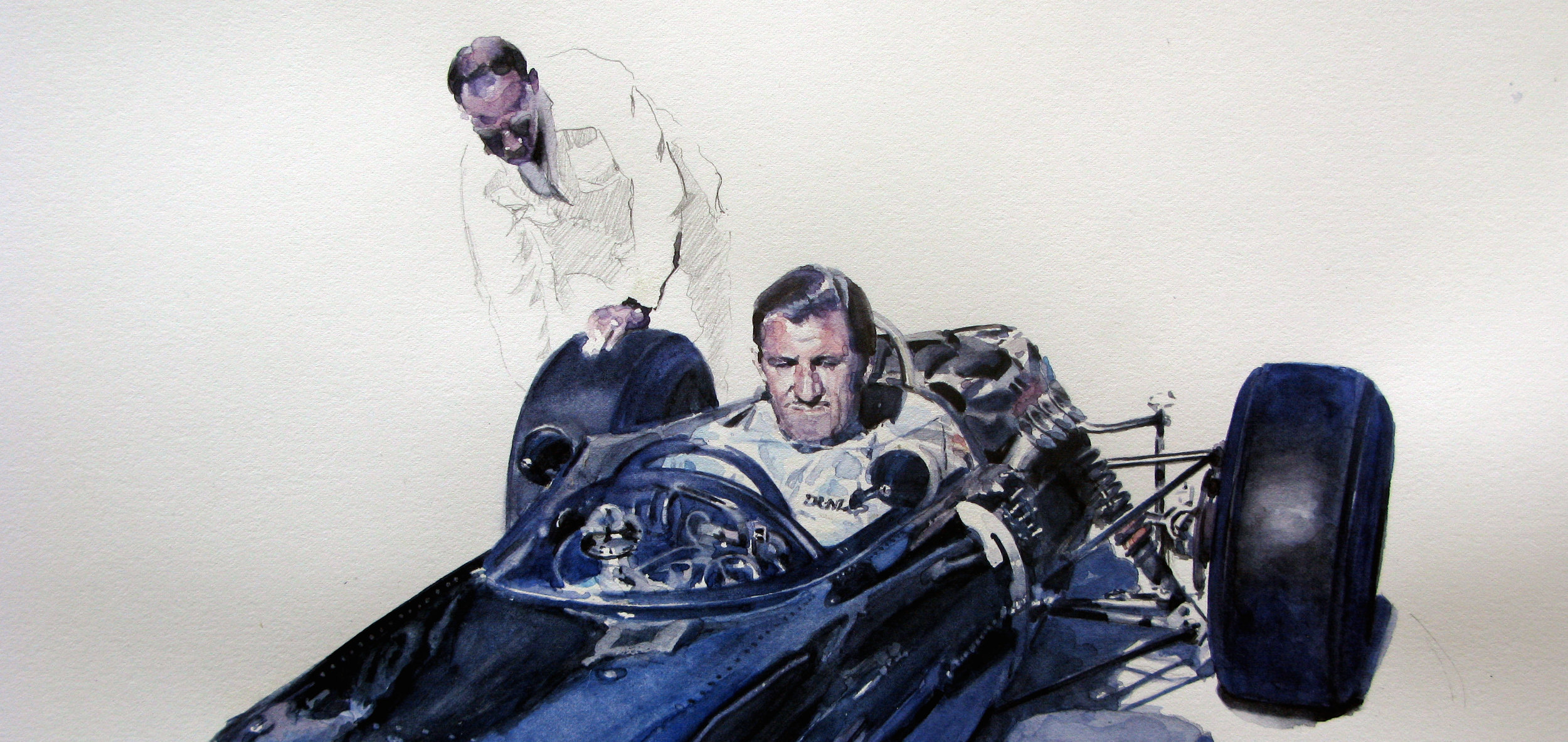 5. Graham Hill - Monaco 1965 BRM. watercolour 7 graphite on Paper, 2010 2.jpg