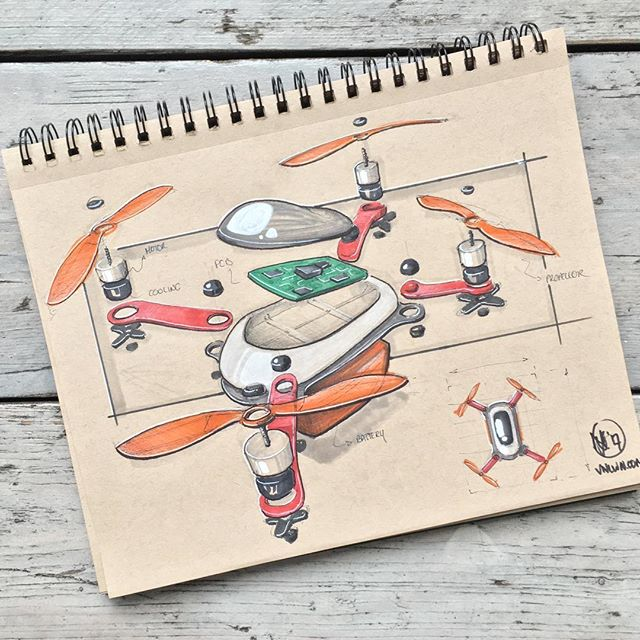 //167. Kicking off inktober in style with an exploded view of this swift drone. I had fun imagining the design while sketching the separate parts, might do some ideation sketches on drones some other time! Feel free to let me know what you think! #alwaysbesketching #inktober2017