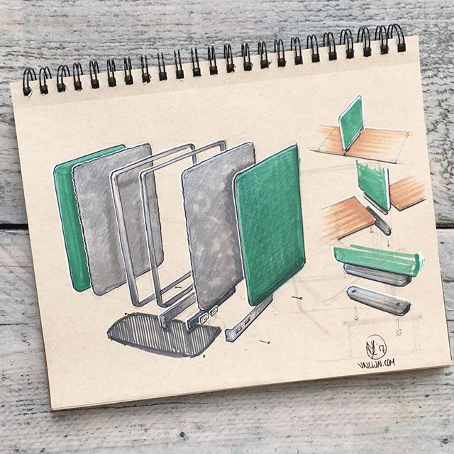 //168. Better late than never: the second day of #inktober - a divider between two desks. There is still some room for improvement, but sometimes quick sketching is enough to convey the idea. #alwaysbesketching