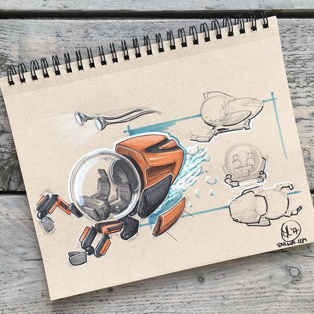 //170. Its time to go underwater! I sketched it as an exploded view, but gave it a jet stream any way. not sure if it is very convincing, but it was a nice experiment anyway 😄 looking forward to hearing what you think of it :) #alwaysbesketching