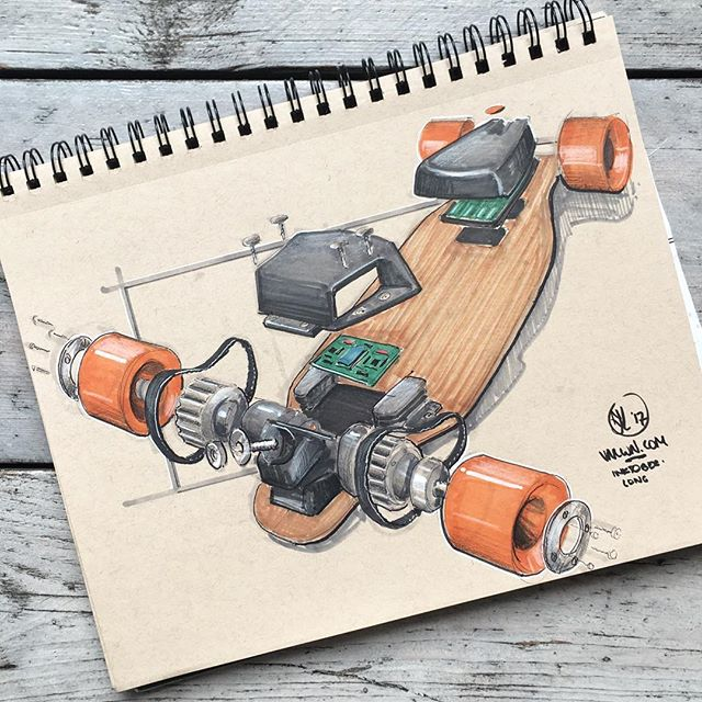 //171. Ever wondered what a boosted board looked like on the inside? Well, even if you didn't, here it is: an exploded boosted board. I guess this LONG board fits perfect with today's #inktober theme. I'm looking forward to hearing what you think of it, feel free to let me know! #alwaysbesketching