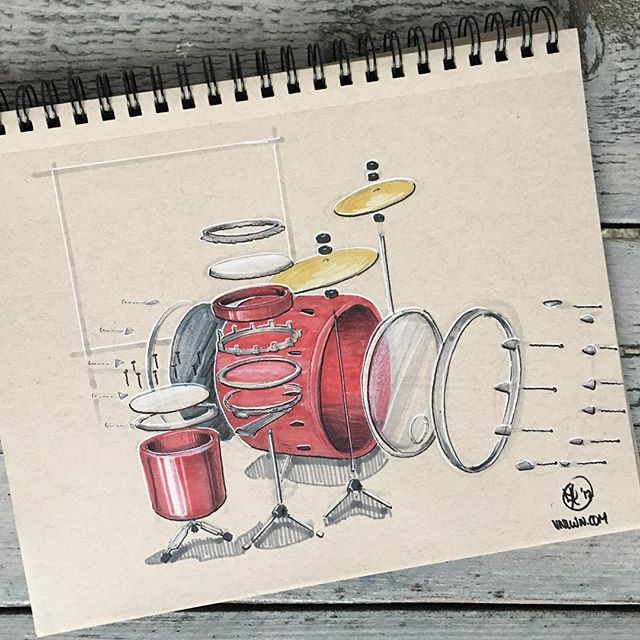 //173. Day 8: thinking of today's #inktober theme I could not get around the association of rock super group 'them CROOKED vultures'. So I drew (parts of) a drum kit as I'm a big fan of Dave Grohl who mans the drums in this formation. Quite far fetched I guess, but fun to draw nonetheless. Feel free to let me know what you think! #alwaysbesketching