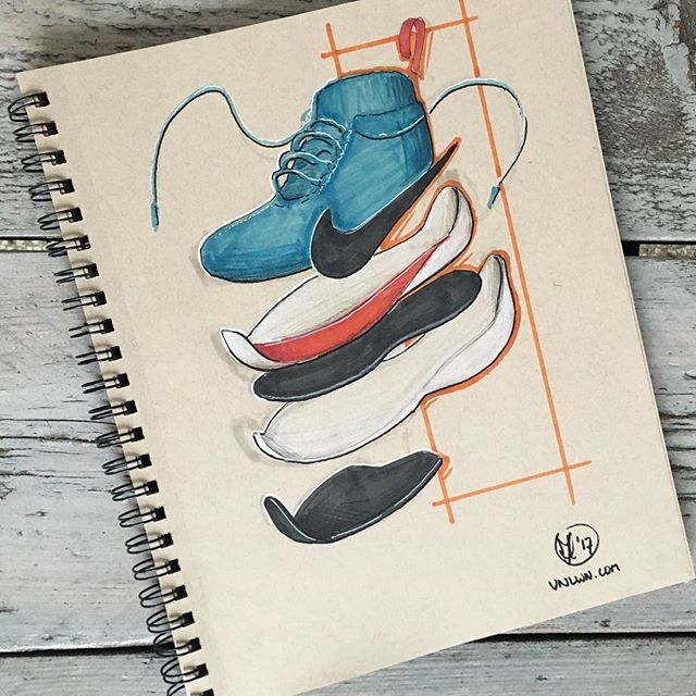 //176. #inktober Day 11: 2 hours and 25 seconds was the time in which Eliud Kipchoge completed his sub 2 marathon attempt. Although the challenge still stands, this stunning RUN was an amazing feat of athletics and science. Here is an exploded view of the @nike #vaporfly elite shoe that was used for this record attempt. Looking forward to hearing what you think! #alwaysbesketching