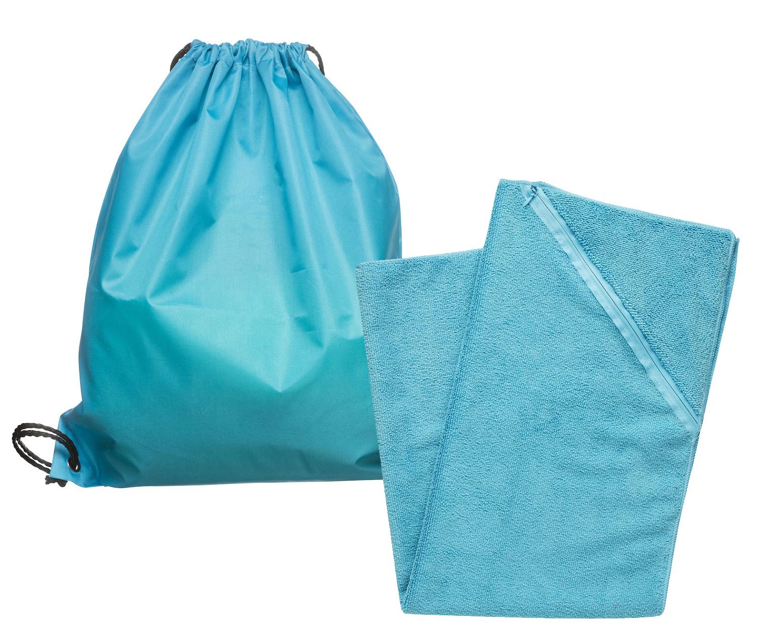 Gymsett - Gymbag og sportshåndkle. Gympose i polyester. Håndkle i microfiber. Strl 50x80 cm. Fra Sagaform89,-