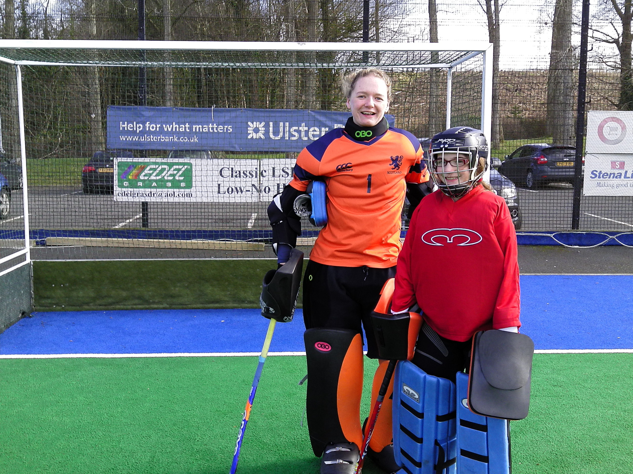 Emilia receives some coaching from the Scotland Goal Keeper!.JPG