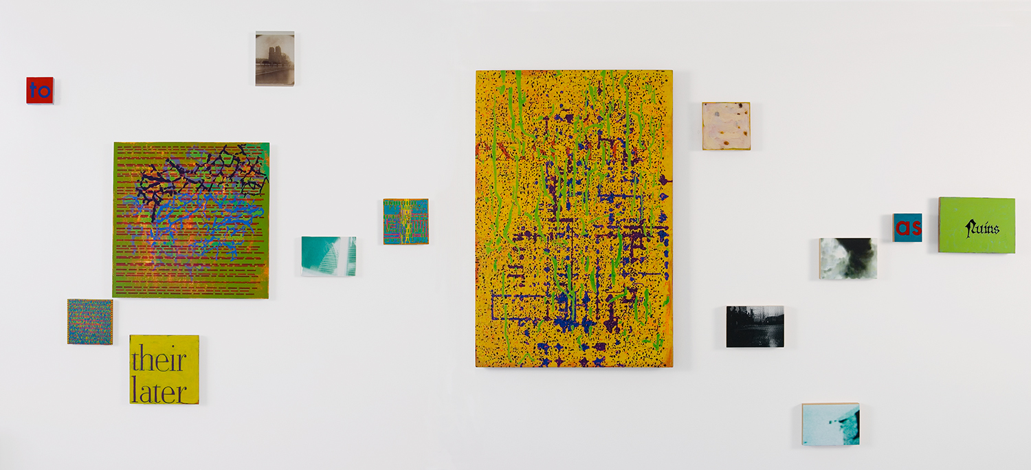 and they are designed from the first with an eye to their later existence as ruins , 2008-09, oil and archival inkjet on 47 panels, dimensions variable. Part 4