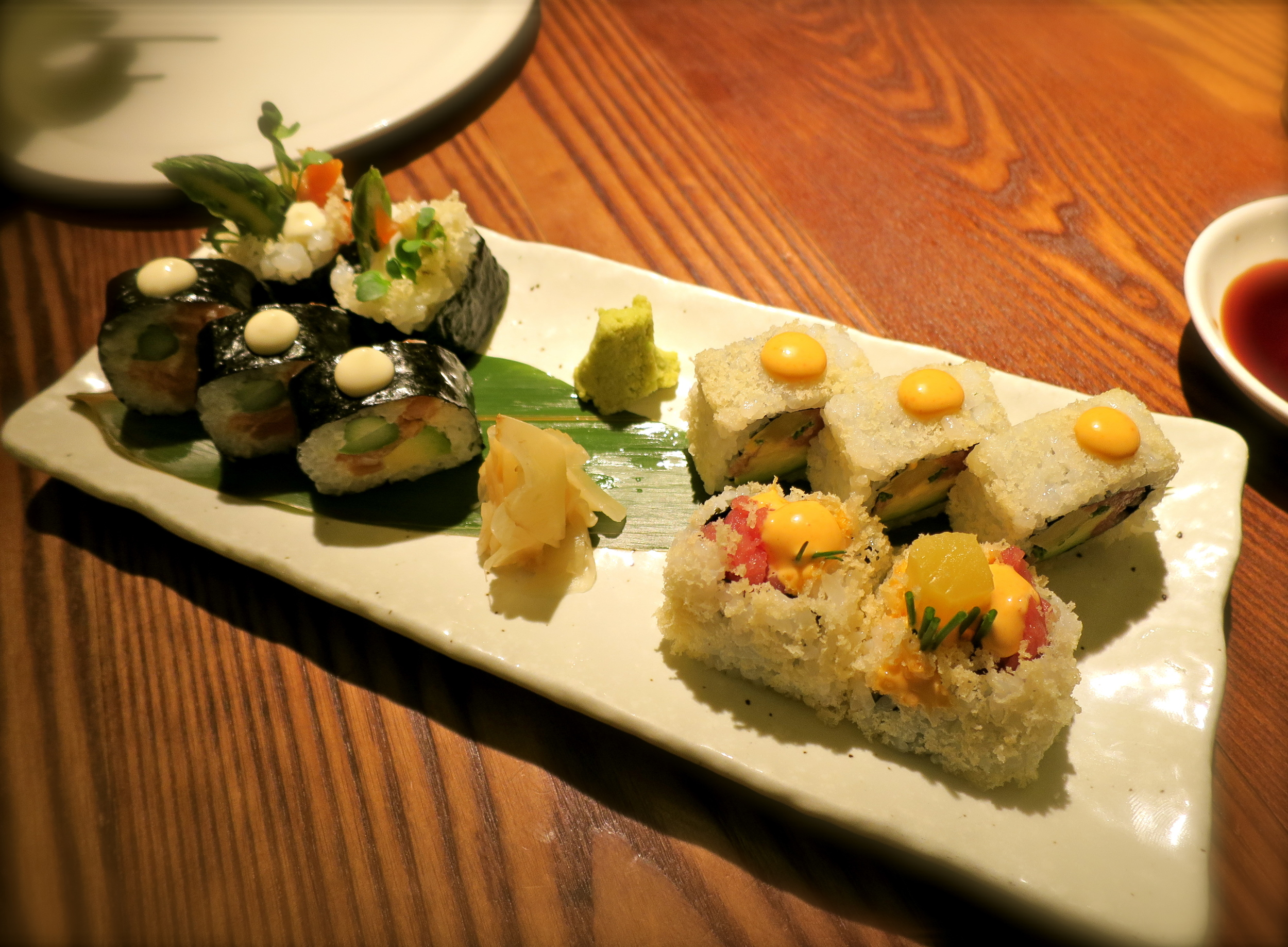 Spicy tuna roll and salmon avocado roll