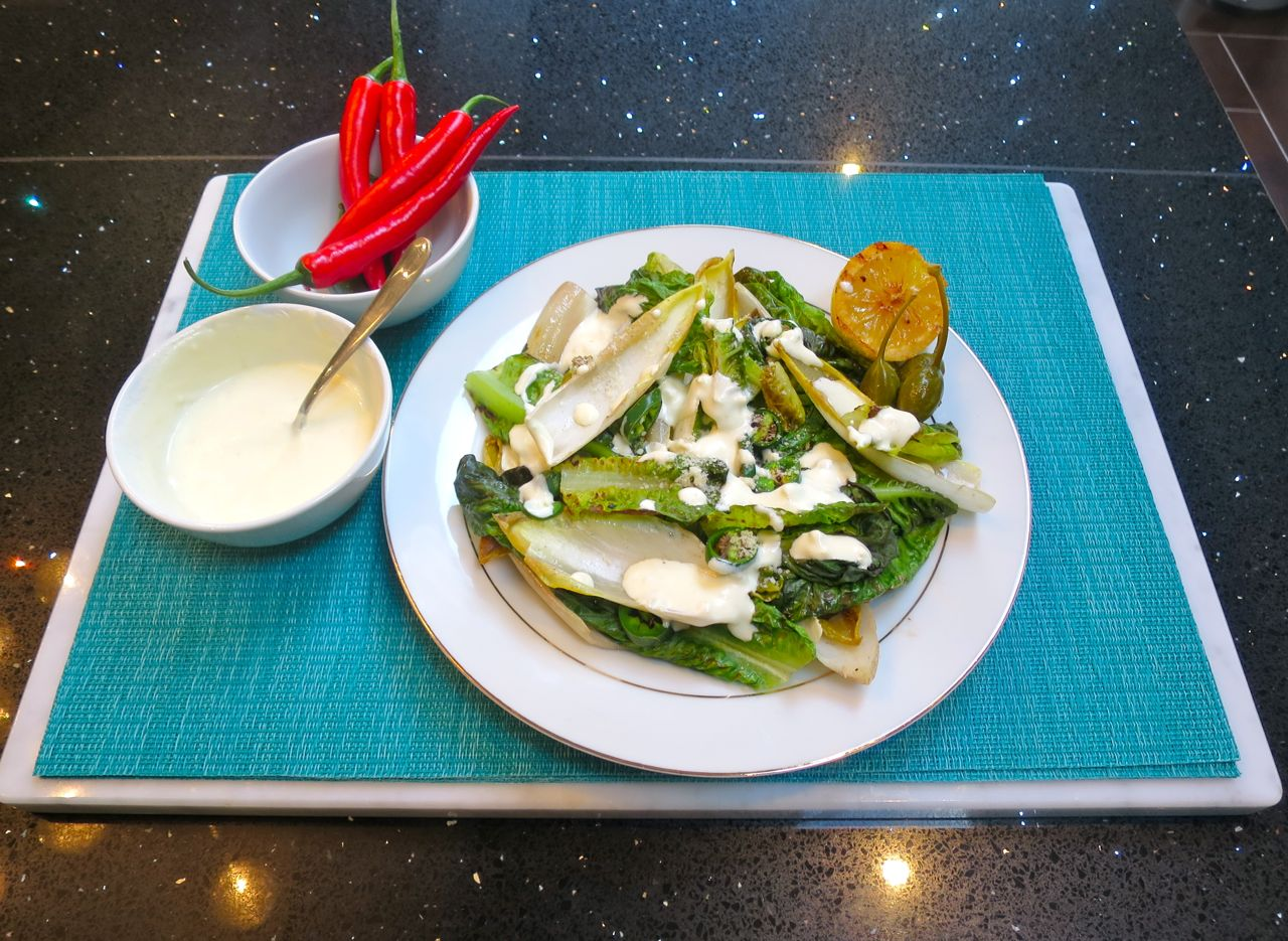 Chargrilled Chicory and Little Gem Salad served with Caper-berries.