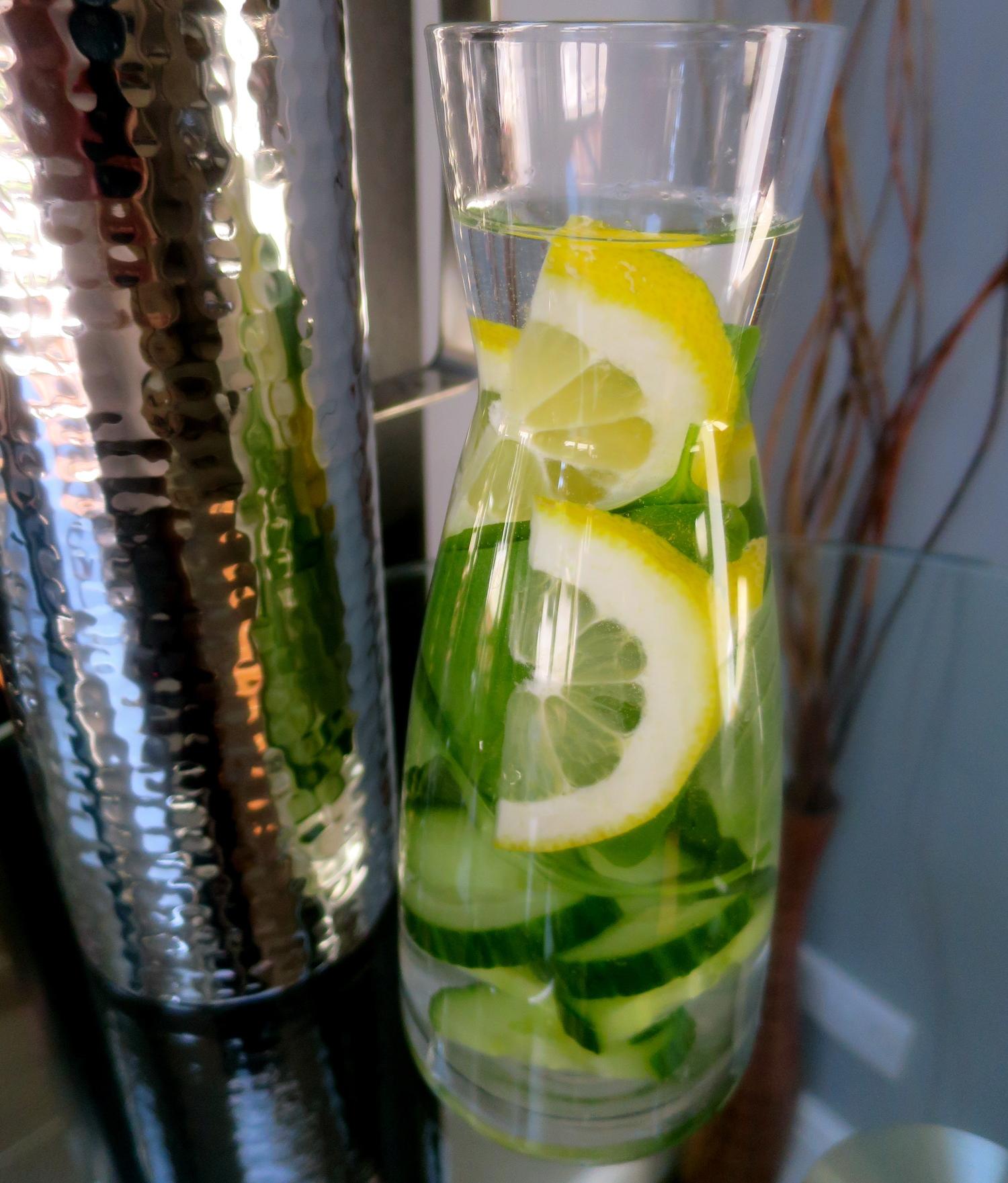 Lemon, Cucumber and Fresh Basil.
