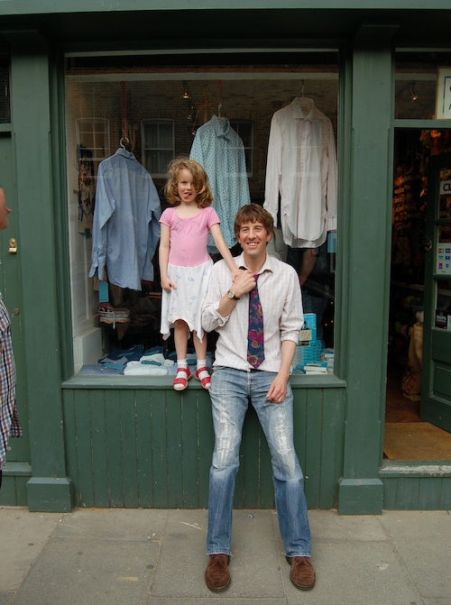John-Paul Flintoff With His Daughter In Home-Made Dress: Copyright Harriet Green