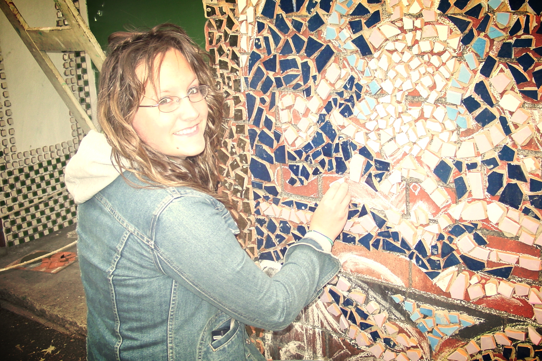Mosaic wall at community mosque designed by students.