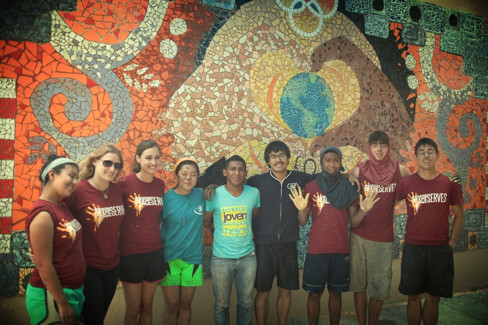 Peace park mosaic at local university designed in collaboration between North American and Honduran youth artists.