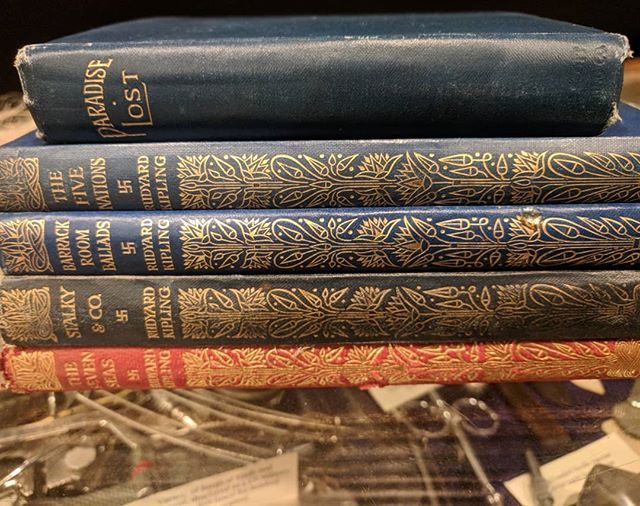 Lovely old books! 4 different Rudyard Kipling books with pre WW2 swastikas on spine and cover,  one copy of Paradise Lost.  Each Book is £15 plus postage.  Swipe to see the extra photos.