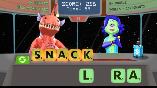 Word Snack    - Fall 2014 -    Play Word Snack, the game where aliens are hungry for words and it's your job to feed them!     Available on iOS and Android! Made with 37 other students over the course of one semester. Responsibilities for this project were the sea monster model, all UVs and textures, some animations as well as assisting with 3d production organization.