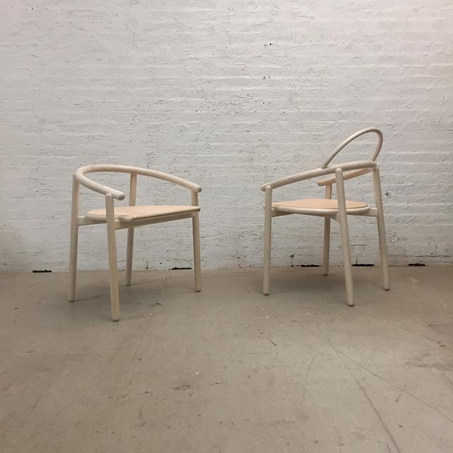 Highs and lows. - - - - - #nycmade #nydesign #chairdesign #customchair #steambent #steambending #bentwood #vegtannedleather #diningchair #deskchair