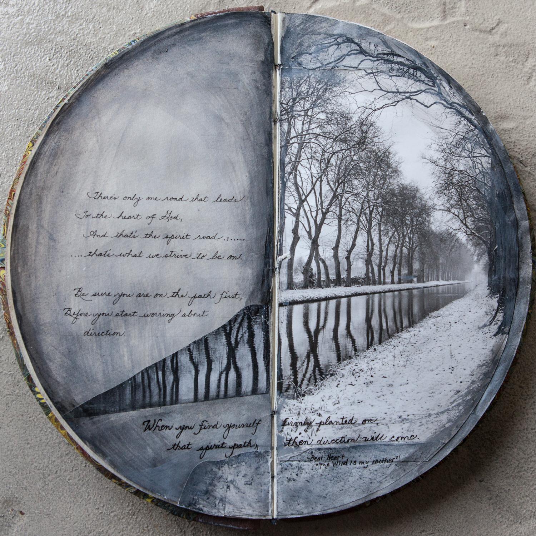 photograph, paint, ink, paper