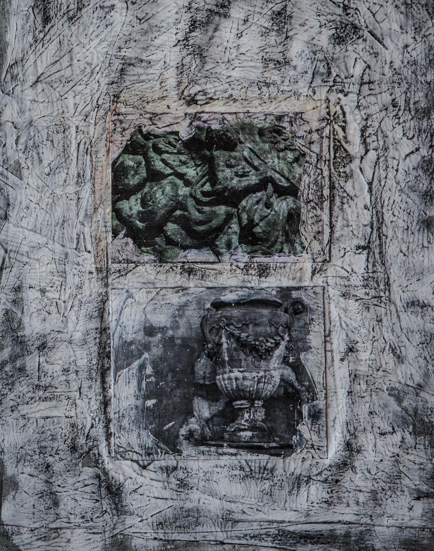 photography, acrylic medium, paint, charcoal