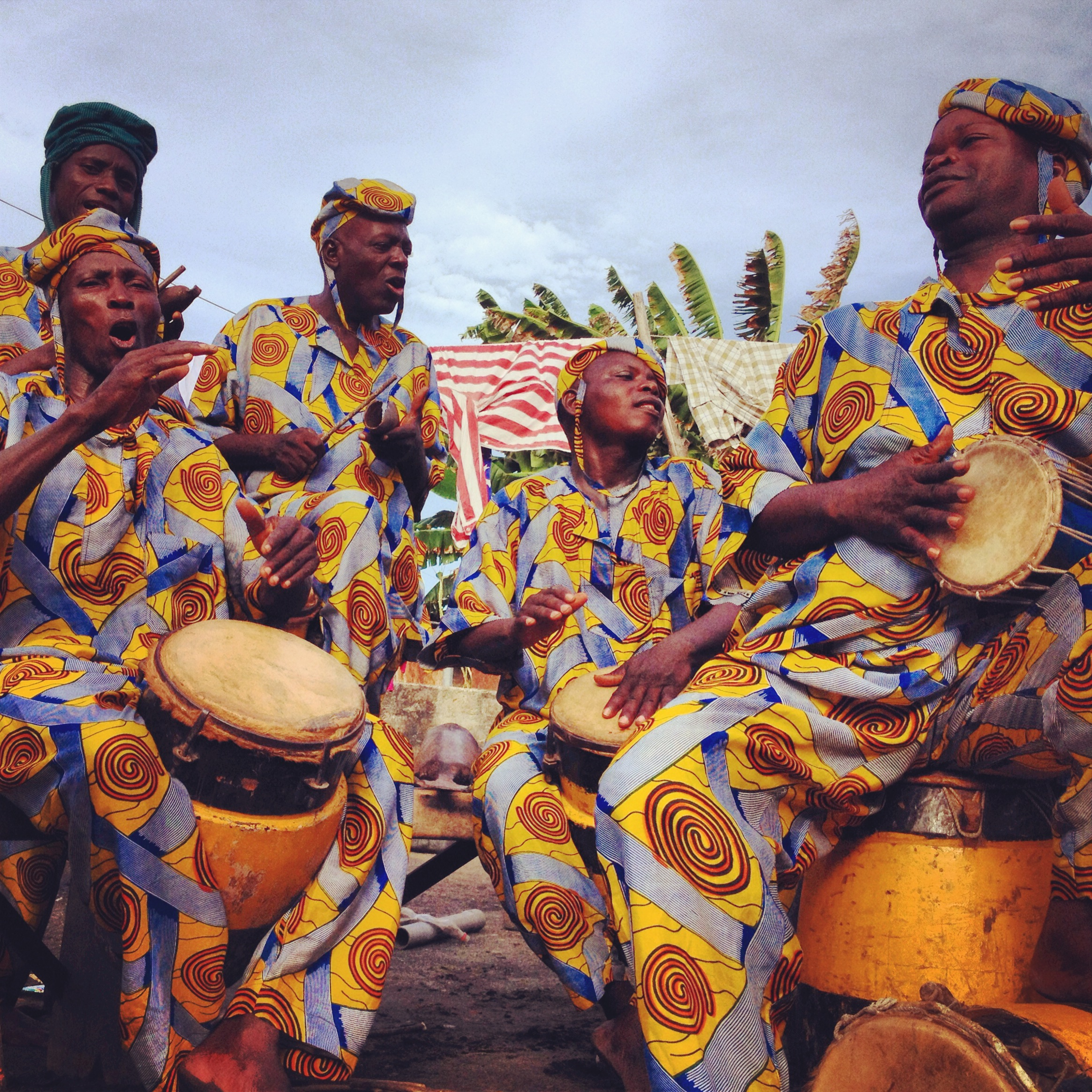 Drummers from the Kini Kini Cultural Troupe performing a traditional rhythm called Agbehoun