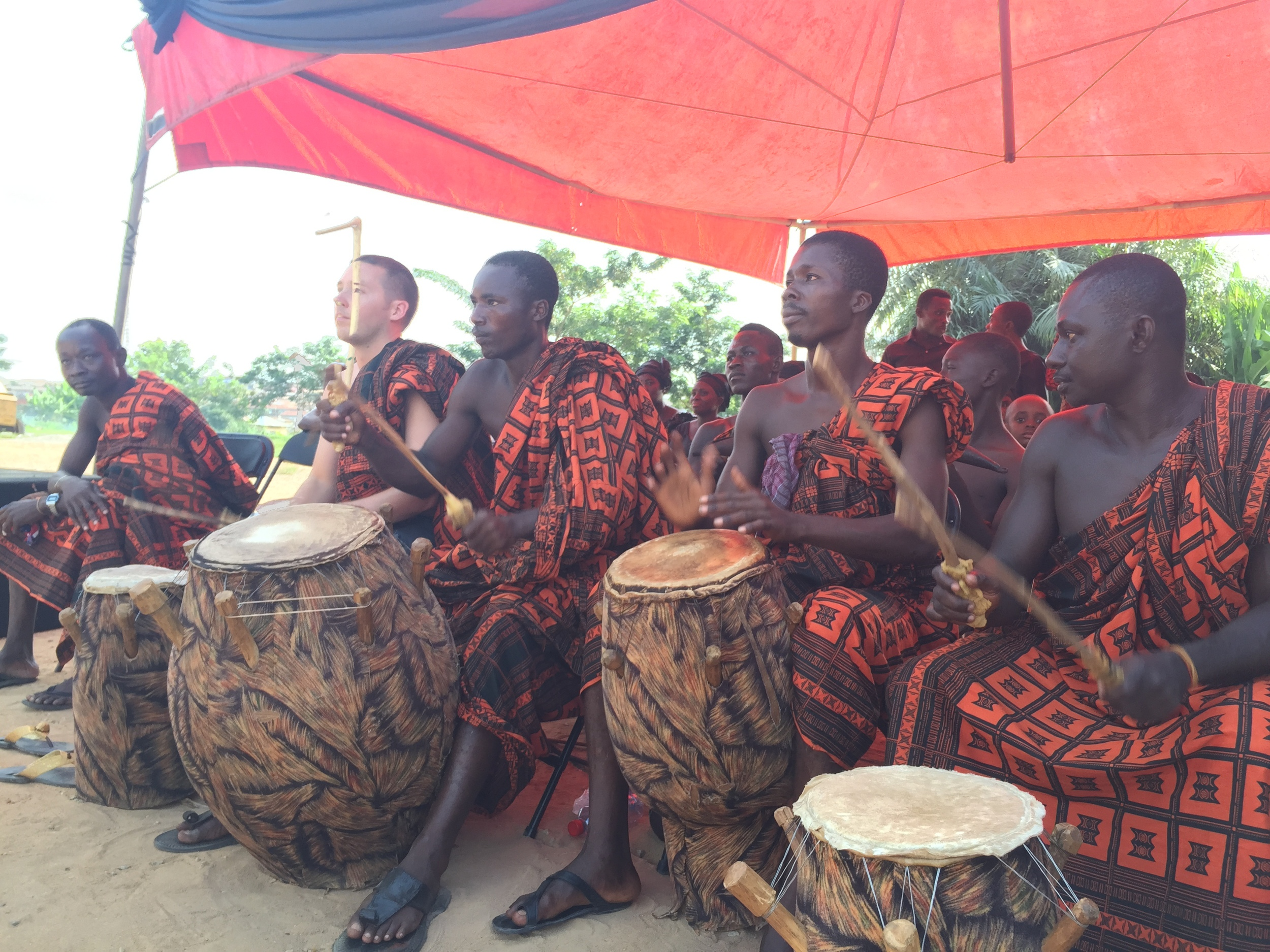 Drumming with the Kokofu Kete Group at a funeral in Bomso, Kumasi.