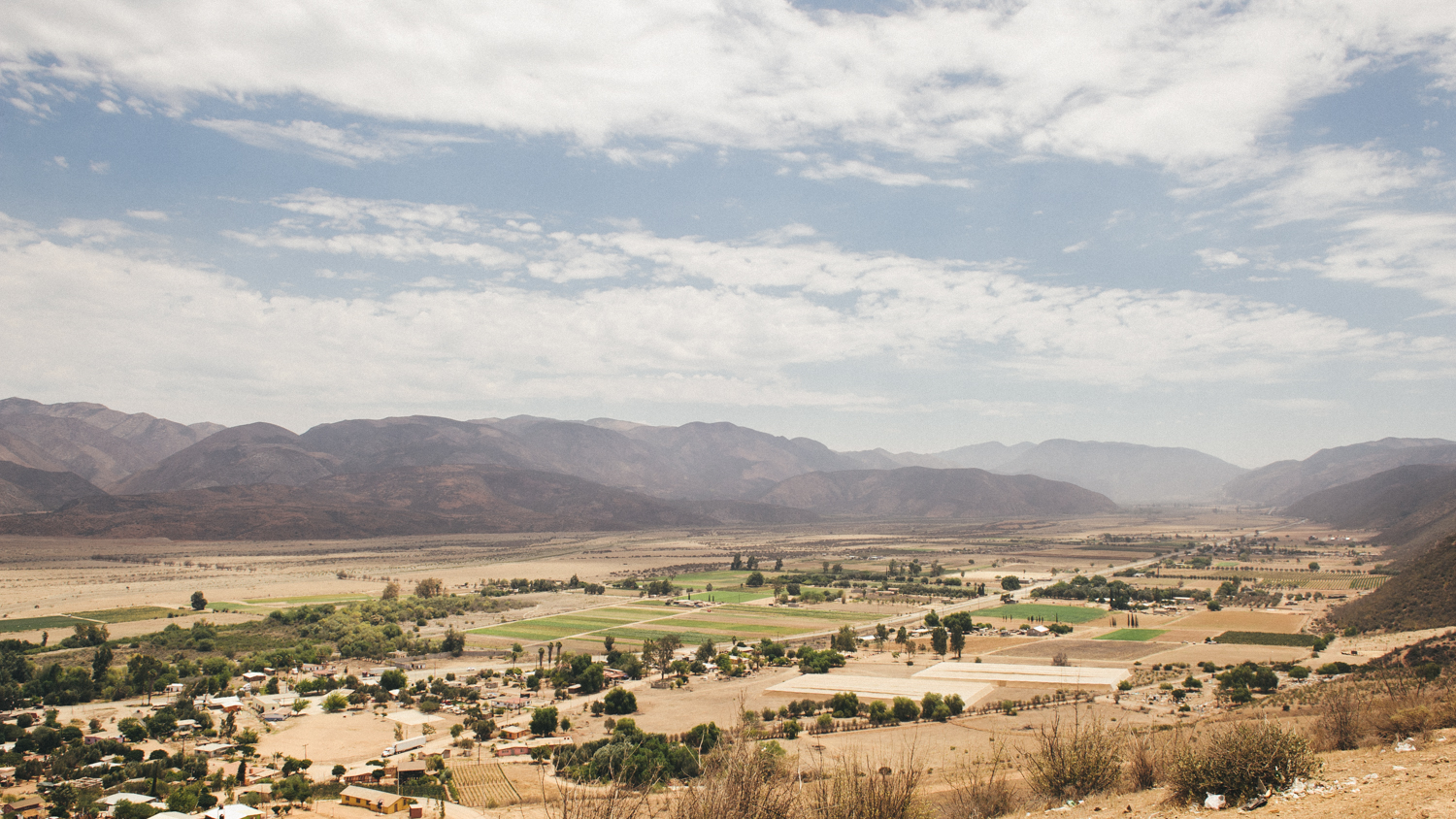 The wine-growing area around Ensenada consists of three valley regions; Valle de Guadelupe, Santo Tomás and San Vicente. This is the view from above Santo Tomás.