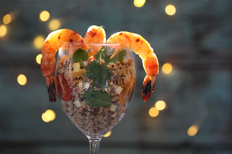 Shrimp with Quinoa and Thai Peanut Sauce