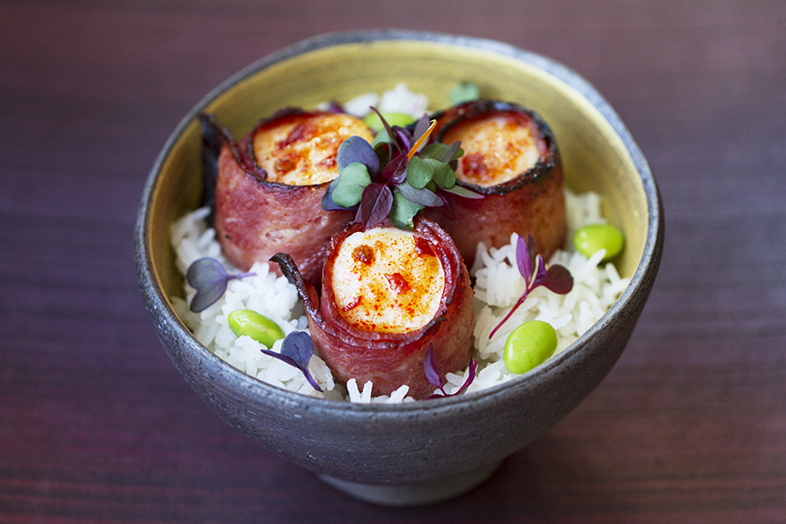 Bacon Wrapped Scallops Rice Bowl