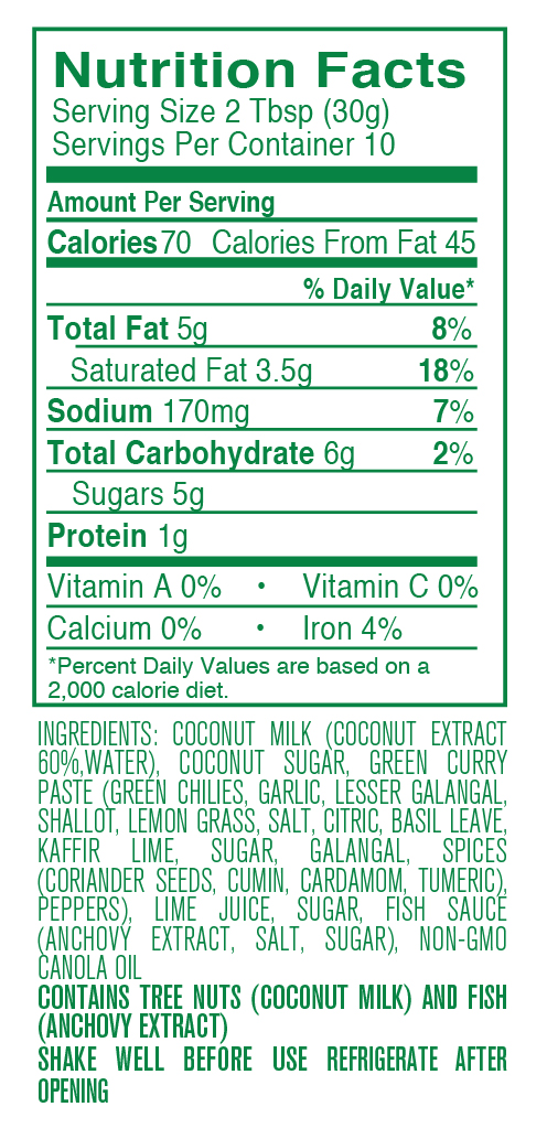 Green Curry nutritional facts