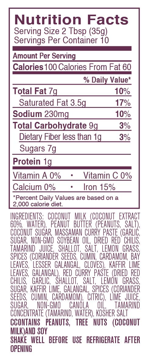 Peanut Sauce nutritional facts