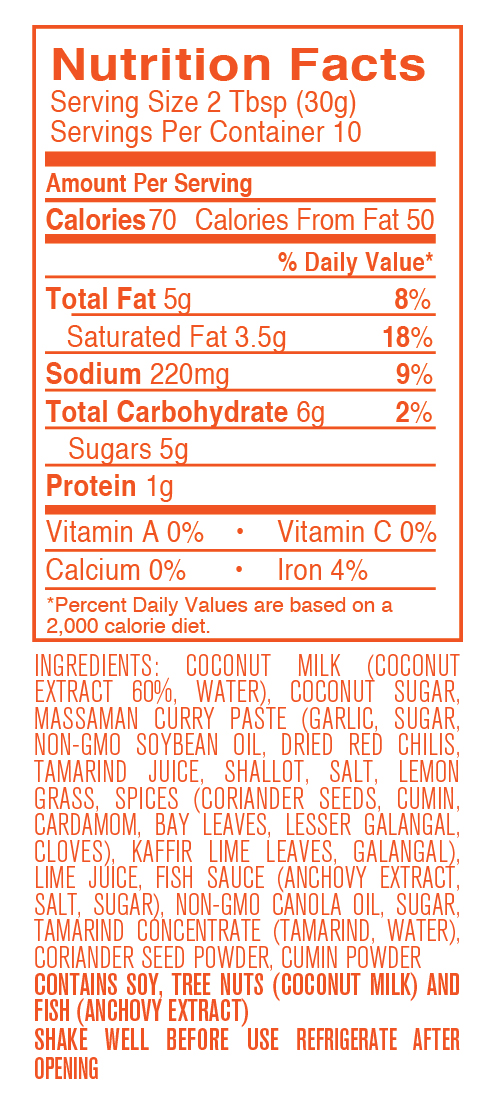 Massaman Curry nutritional facts