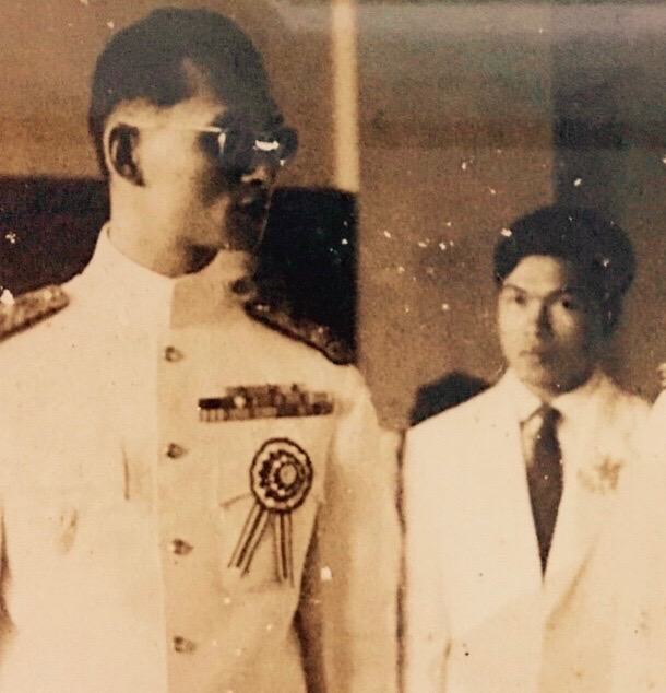 Watcharee's father, Wisit Limanon, as a young supreme court justice with His Majesty King Bhumibol Adulyadej